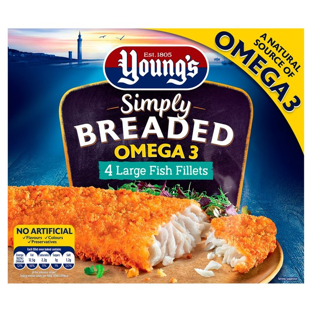 Morrisons Youngs Simply Breaded Omega 3 4 Large Fish Fillets