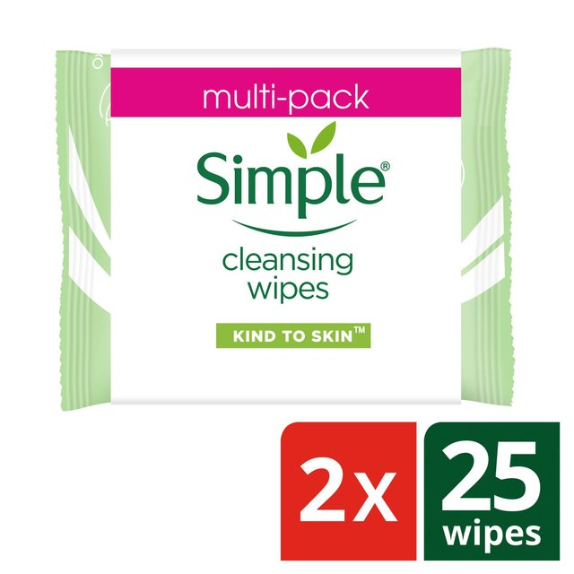 Simple Kind To Skin Cleansing Facial Wipes 2X25Pk