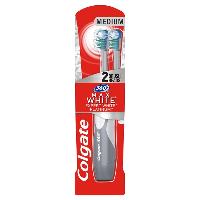 Colgate 360 Max White Powered Toothbrush 2 Brush Heads