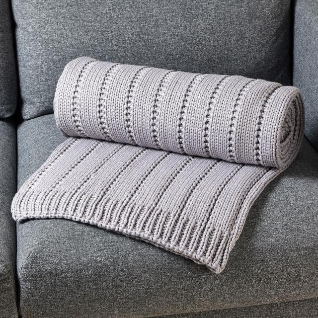 Morrisons Grey Knitted Throw