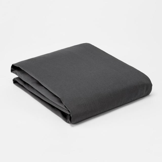 Morrisons 100% Cotton Graphite Fitted Sheet
