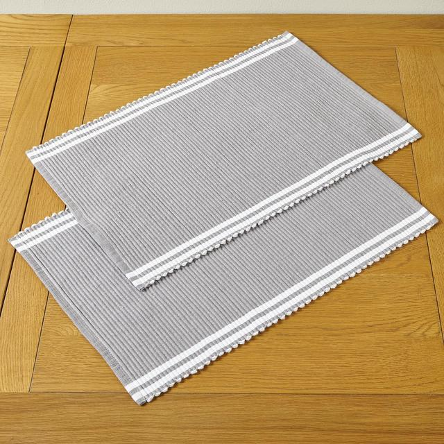 Morrisons Grey Ribbed Tablemats 2Pk