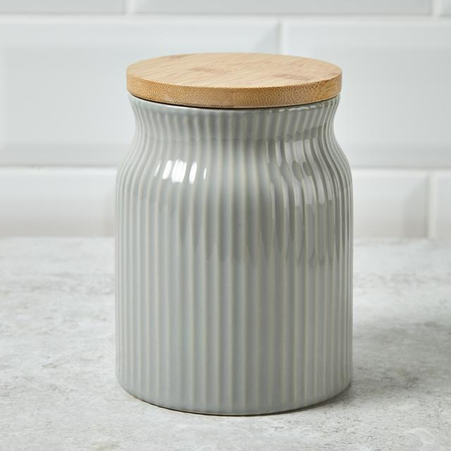 Morrisons Ribbed Storage Canister With Bamboo Lid Grey