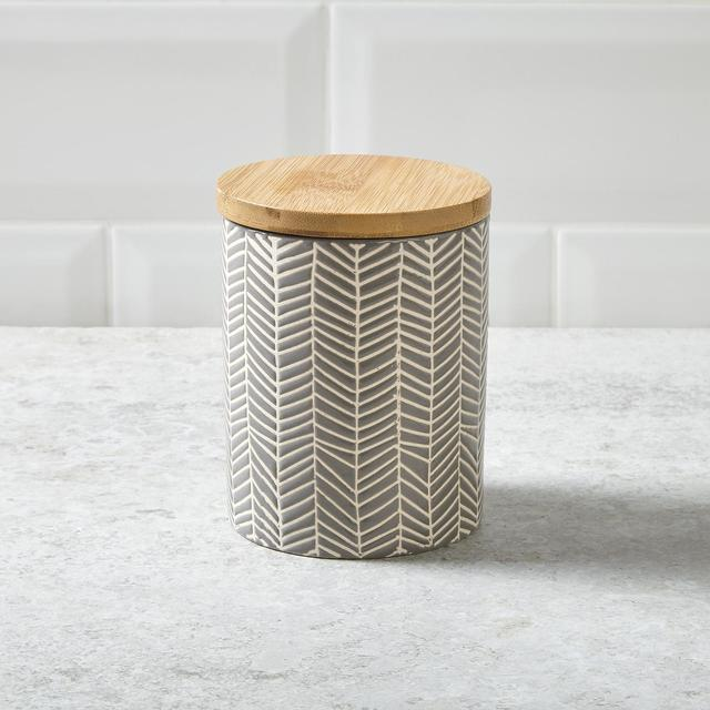 Morrisons Earthenware Storage Canister Grey