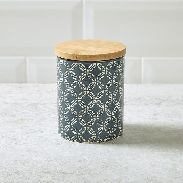 Morrisons Earthenware Storage Canister Blue