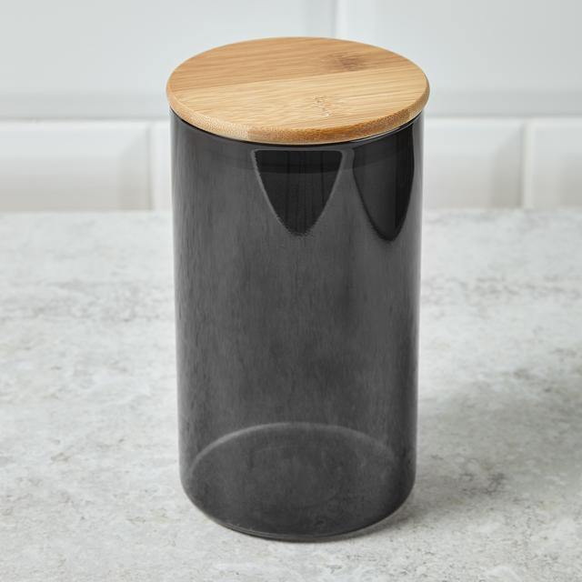 Morrisons Medium Grey Glass Storage Jar With Bamboo Lid