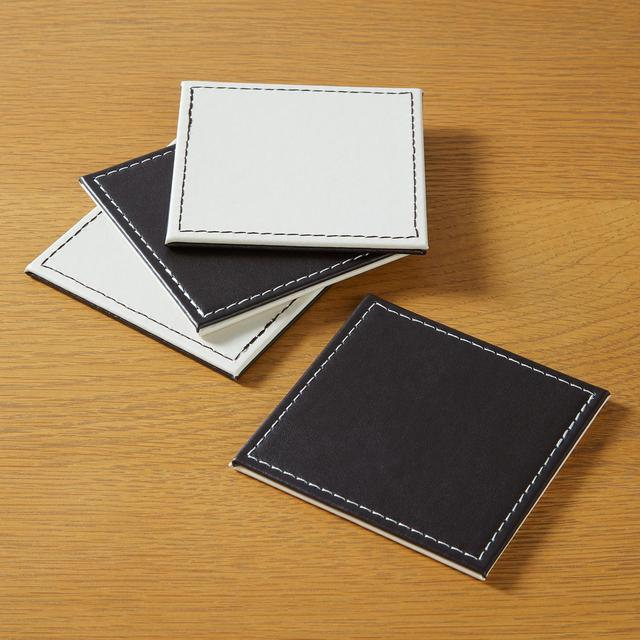 Morrisons Reversible Faux Leather Coasters Brown & Cream 4Pk