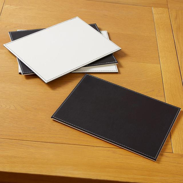Morrisons Reversible Faux Leather Placemats Brown & Cream 4Pk