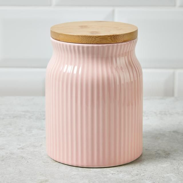 Morrisons Ribbed Storage Canister With Bamboo Lid Pink