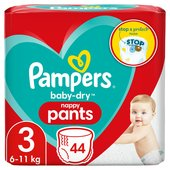 Pampers Baby-Dry Nappy Pants Size 3, 6-11 kg, Easy-On