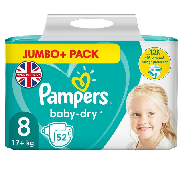 Pampers Baby-Dry Size 8 Nappies, 17+kg, Breathable Dryness