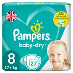 Pampers Baby-Dry Size 8 Nappies, 17+kg, For Breathable Dryness