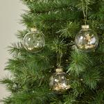 Morrisons Christmas 4 Sequin Baubles Champagne Gold