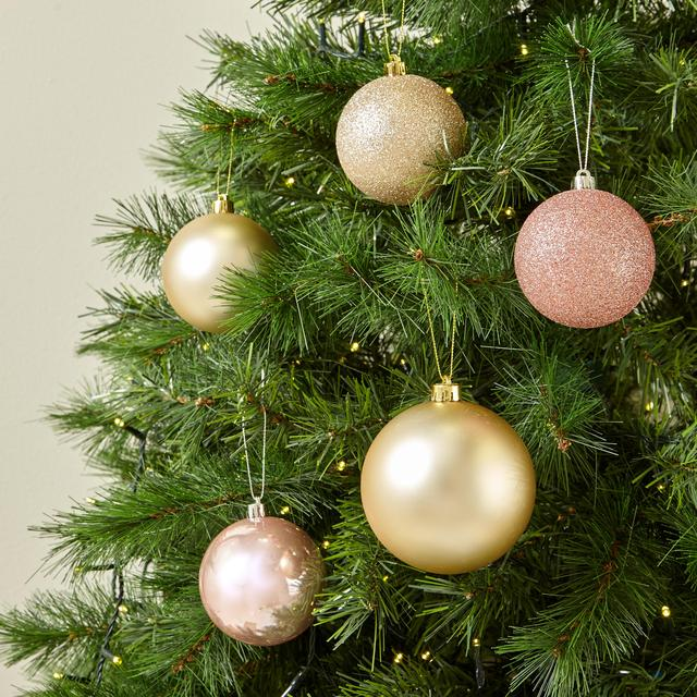 Morrisons Christmas 22 Baubles Gold & Pink - Morrisons: Morrisons Christmas 22 Baubles Gold & Pink (Product