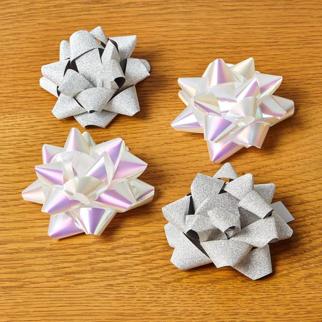 Morrisons Christmas 4 Medium Gift Bows Silver