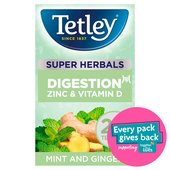 Tetley Super Herbals Digestion Mint & Ginger Tea Bags x20