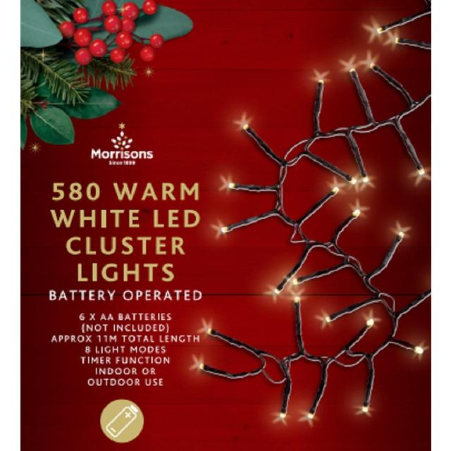 Morrisons 240 Warm White Cluster Tree Lights 8 Mode