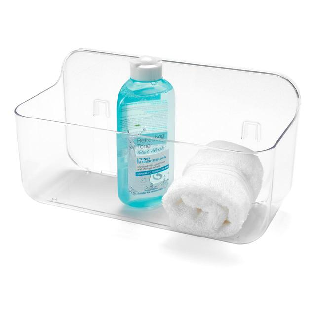 Addis Invisifix Bathroom Shower Storage Caddy Holder, Clear