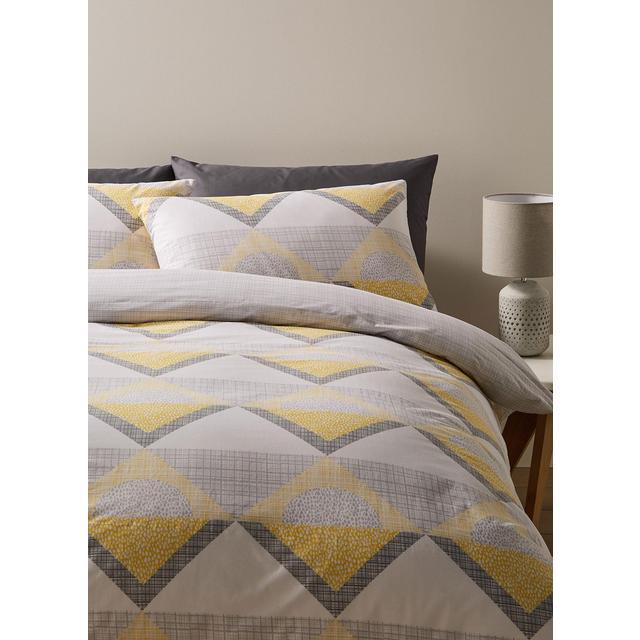 Morrisons Double Duvet Cover & Pillowcases Sulphur Geo Checked