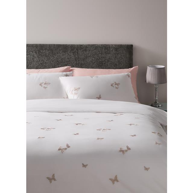 Morrisons Double Embroidered Duvet Cover & Pillowcases Butterfly Shimmer