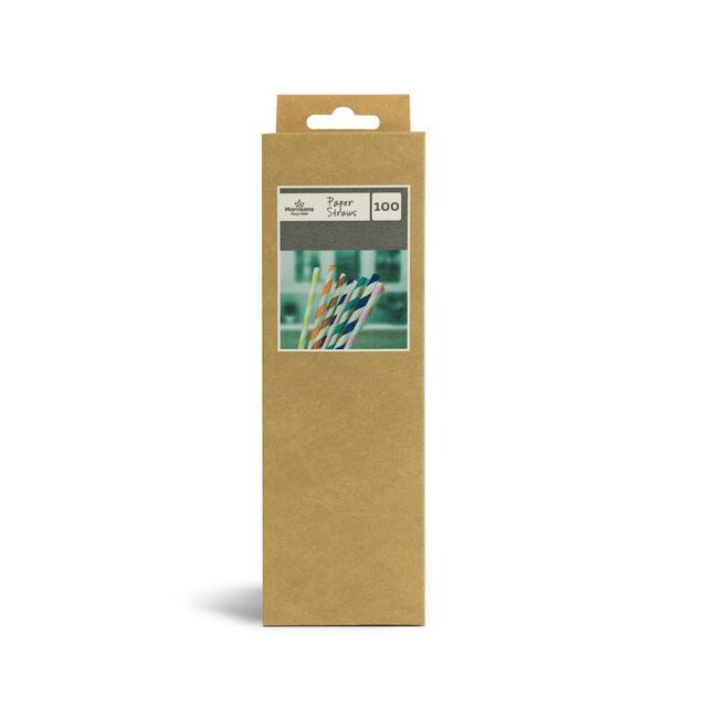 Morrisons Paper Straws Striped 100Pk