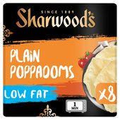 Sharwood's 8 Plain Poppadoms Low Fat