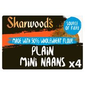 Sharwood's 4 Plain Mini Naans Made With 50% Wholewheat Flour