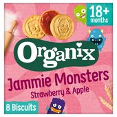 Organix Jammie Monsters Organic Jam Toddler Snack Biscuits Multipack