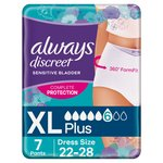 Always Discreet Underwear Incontinence Pants Plus XL 7 pack