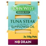 John West Fridge Pot No Drain Tuna Steak In Sunflower Oil