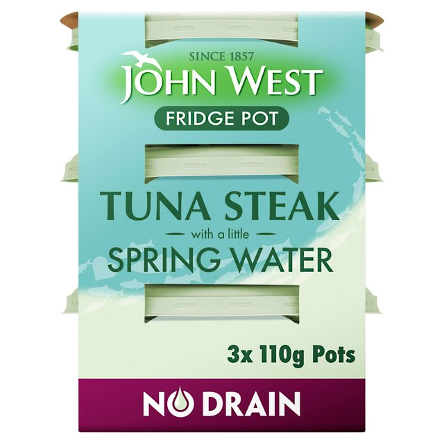 John West Fridge Pot No Drain Tuna Steak In Spring Water