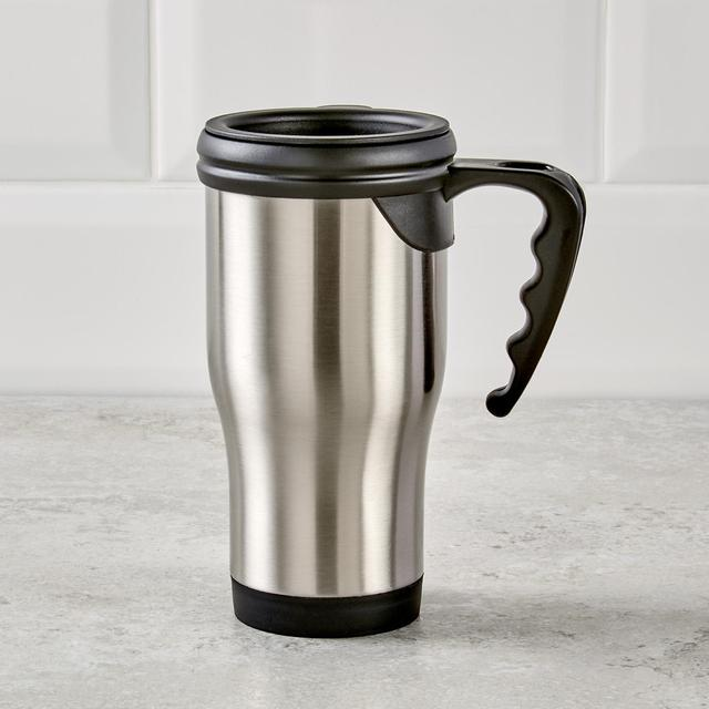 Morrisons 400ml Stainless Steel Travel Mug With Handle