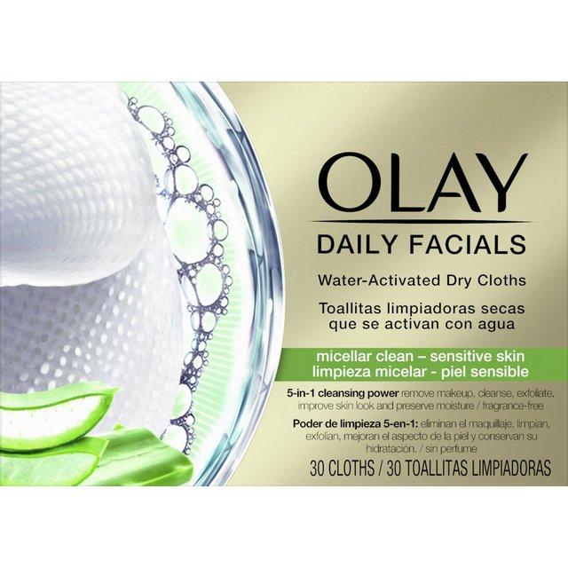 Olay Daily Facials Face Wipes Micellar Clean - Sensitive Skin 30 Cloths