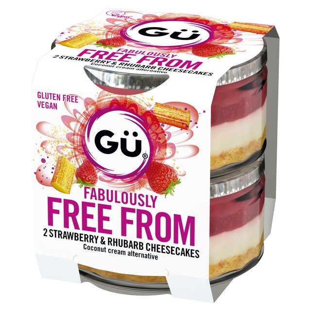 Gu Fabulously Free From 2 Strawberry & Rhubarb Cheesecakes