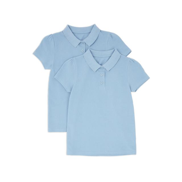 Nutmeg Girls Pale Blue Polos 2 Pack 8 - 9 Years