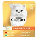 Purina Gourmet Gold Savoury Cake Meat & Fish 8 X 85G