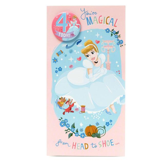 Disney Princess 4th Birthday Card
