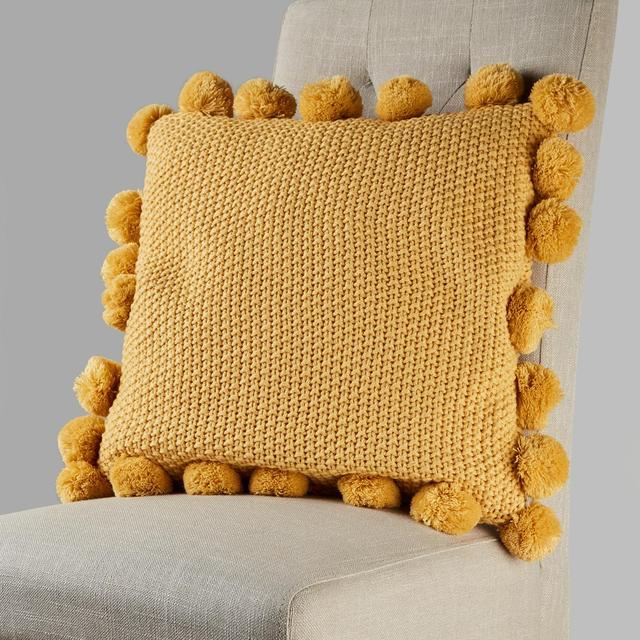 Morrisons Ochre Knitted Pom Pom Cushion
