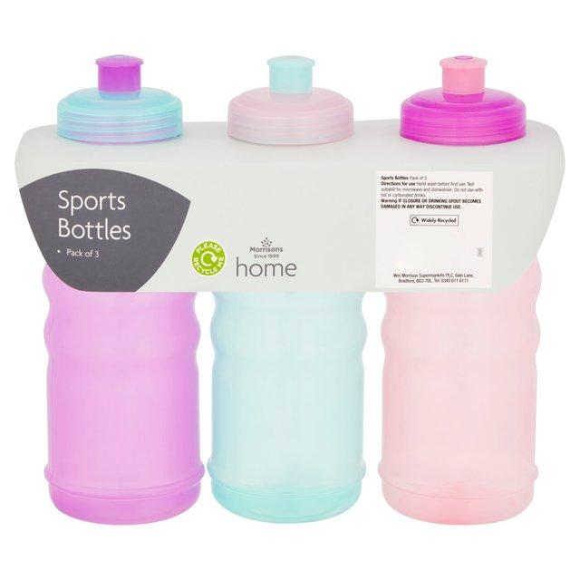 Morrisons Pink / Purple / Green Sports Bottles