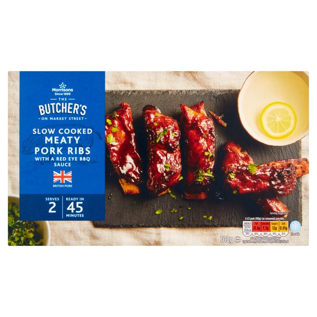 Morrisons Slow Cooked Red Eye BBQ Meaty Pork Ribs