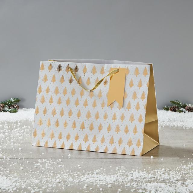 Morrisons Gold Christmas Tree Extra Large Gift Bag