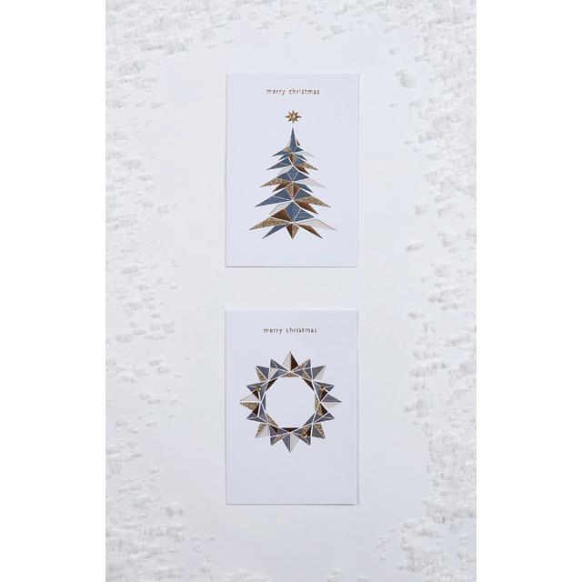 Morrisons Geometric Tree & Wreath Twin Pack Christmas Cards