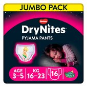 Huggies Dry Nites Pyjama Pants 3 - 5 Years X 16 Disney Fairies Maxi Pack