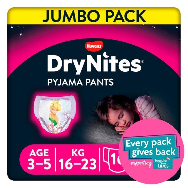 Huggies Dry Nites Pyjama Pants 3 - 5 Years X 16 Disney Fairies Maxi Pack