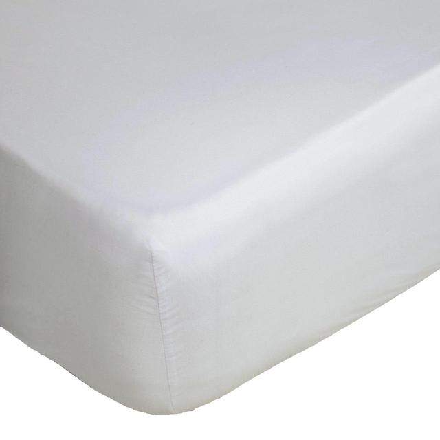 Belledorm White Sateen Egyptian Blend Fitted Sheet, Double