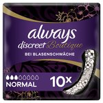 Always Discreet Boutique Pads Normal for Sensitive Bladder Black 10 pack