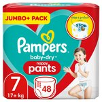 Pampers Baby-Dry Nappy Pants Jumbo+ Pack 7 48 Pants