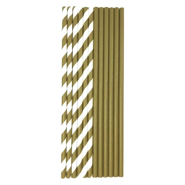 Gold & White Recyclable Bio Straws