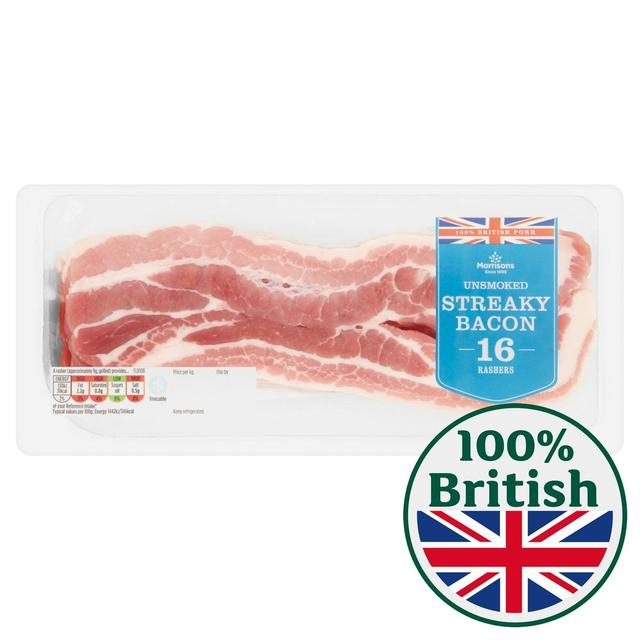 Morrisons Unsmoked Streaky Bacon 16 Rashers