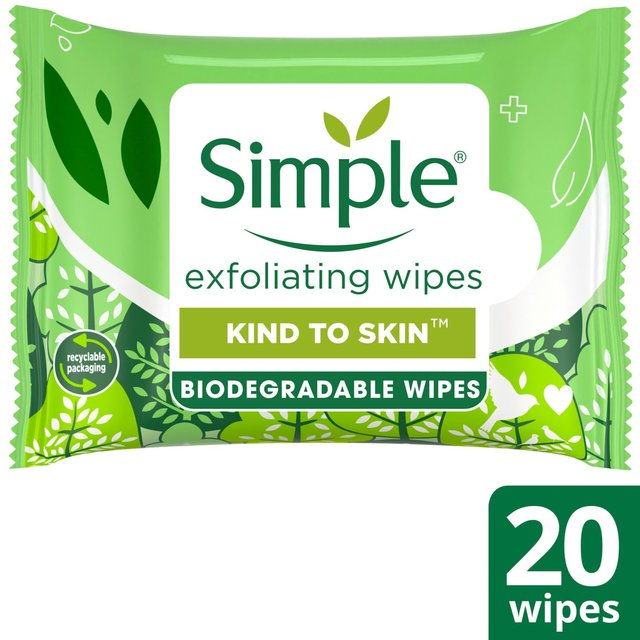 Simple Exfoliating Facial Wipes 20 Wipes